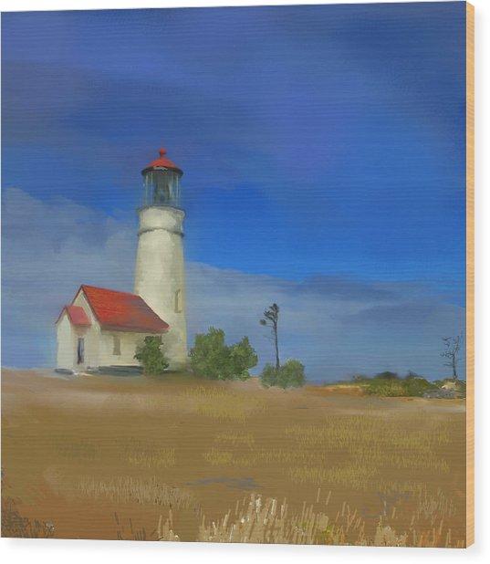 Lighthouse At Cape Blanco Wood Print