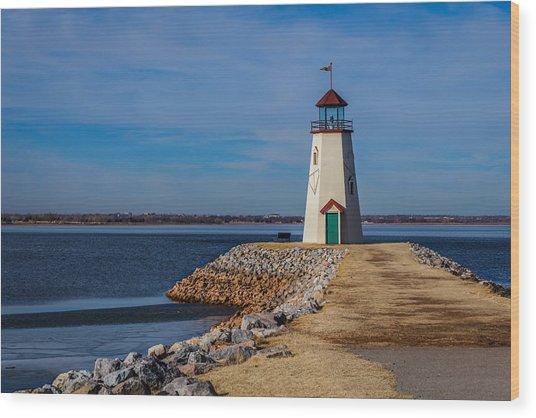 Lighthouse At East Wharf Wood Print