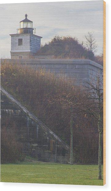 Lighthouse At Fort Rodman Wood Print