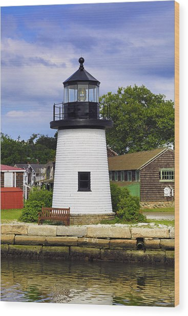 Lighthouse At Mystic Seaport Wood Print