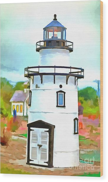 Lighthouse At Old Saybrook Point Wood Print