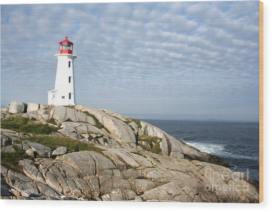 Lighthouse At Peggys Point Nova Scotia Wood Print