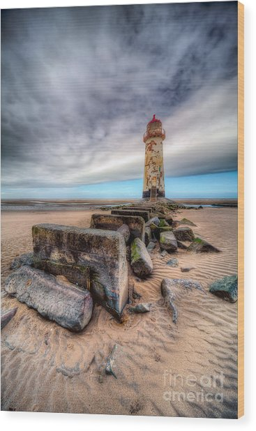 Lighthouse At Talacre  Wood Print