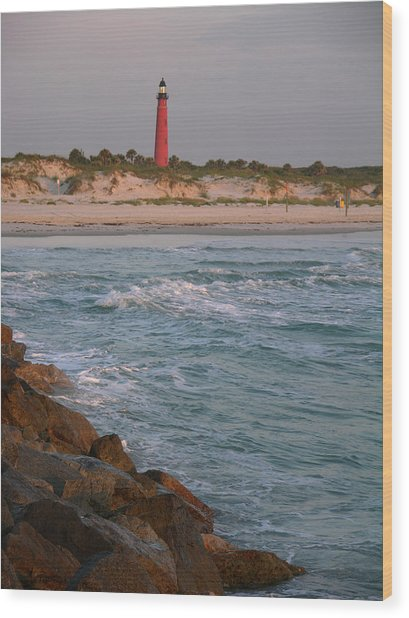 Lighthouse From The Jetty 2 Wood Print