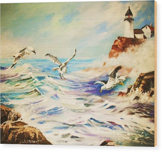 Lighthouse Gulls And Waves Wood Print