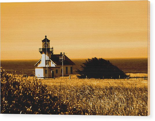 Lighthouse In Autumn Wood Print