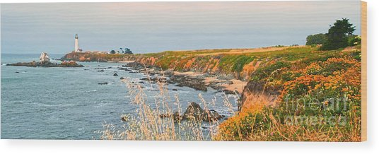 Lighthouse In Summer Wood Print by Artist and Photographer Laura Wrede