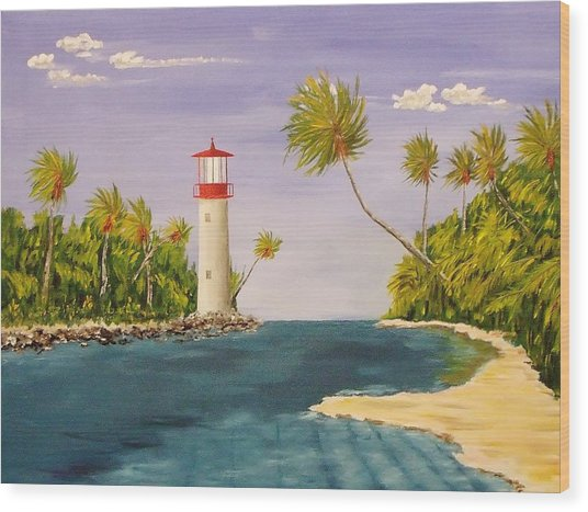 Lighthouse In The Tropics Wood Print