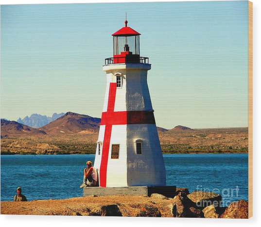 Lighthouse Lake Havasu Wood Print by John Potts