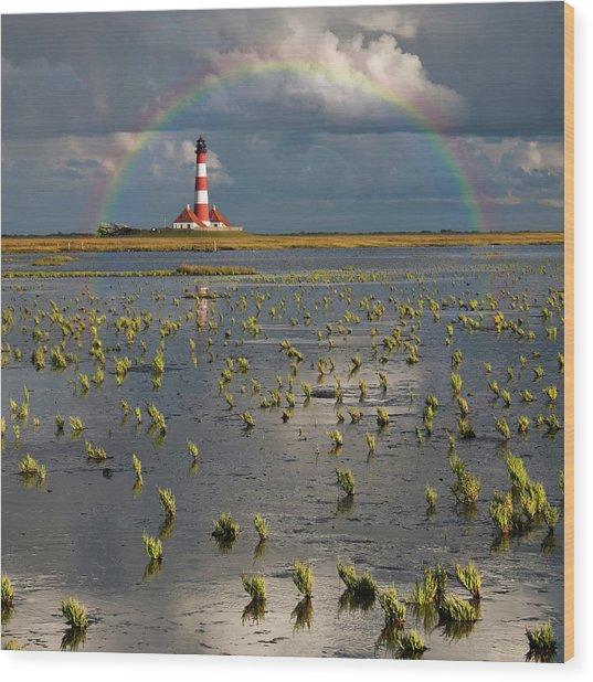 Lighthouse Meets Rainbow Wood Print