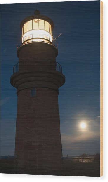 Lighthouse Moon Wood Print