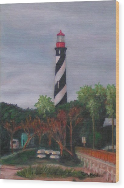 Lighthouse Morning Wood Print