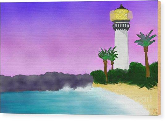 Lighthouse On Beach Wood Print