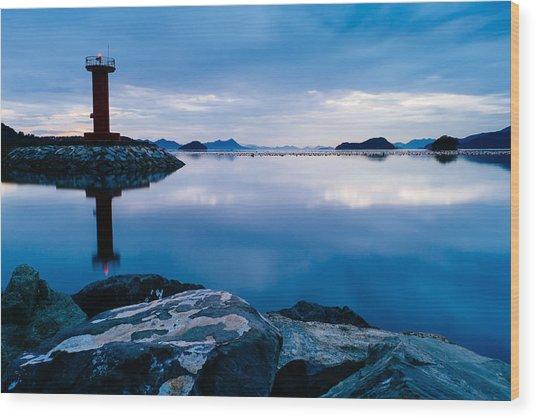 Lighthouse On Blue Wood Print