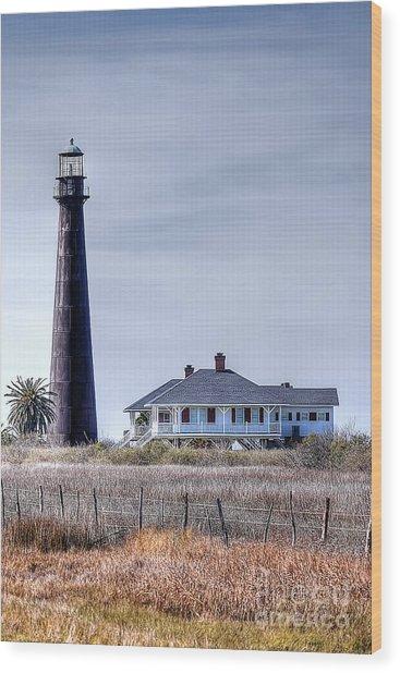 Lighthouse On Bolivar Peninsula Wood Print