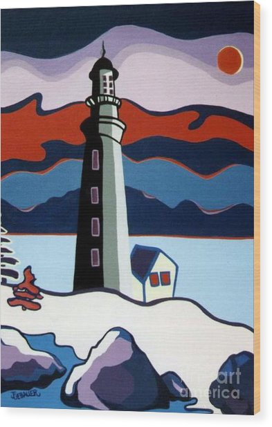 Lighthouse Red Sky Wood Print