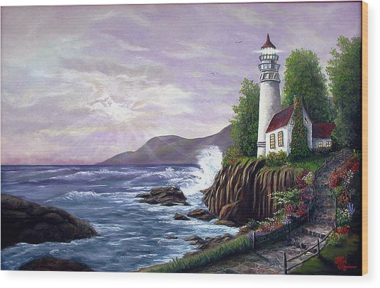 Lighthouse Retreat Wood Print