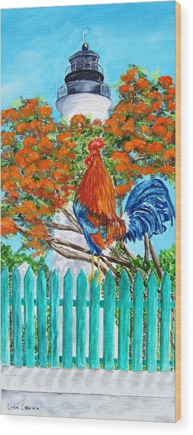 Lighthouse Rooster II Wood Print
