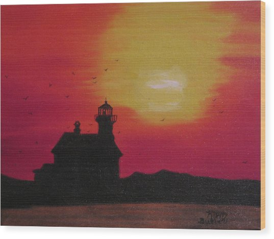 Lighthouse Silhouette Wood Print
