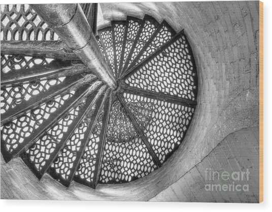 Lighthouse Stairs In Black And White Wood Print