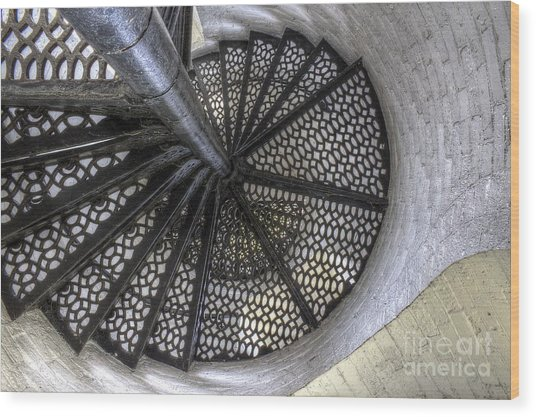 Lighthouse Stairs Wood Print