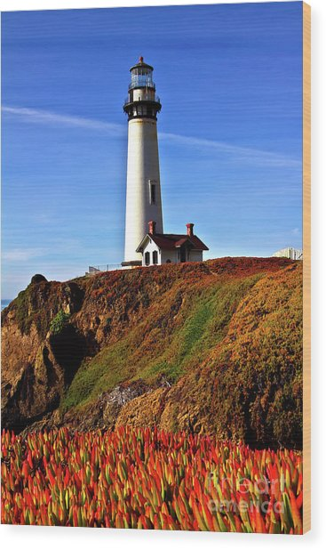 Lighthouse With Red Blooms Wood Print