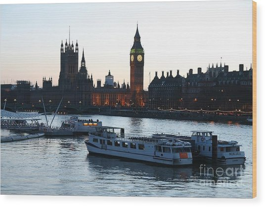 Wood Print featuring the photograph Lighting Up Time On The Thames by Jeremy Hayden