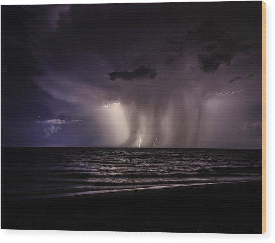 Lightning And Rain Wood Print