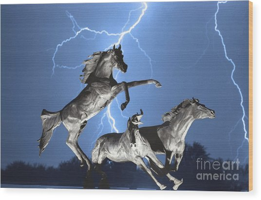 Lightning At Horse World Bw Color Print Wood Print