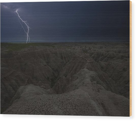 Lightning Crashes Wood Print