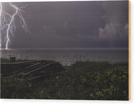Lightning On The Water Wood Print