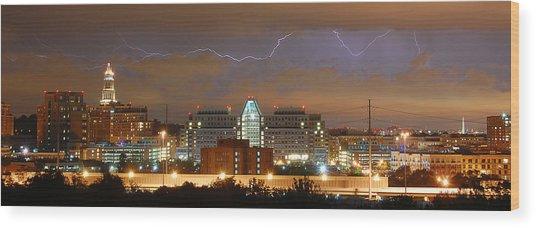 Lightning Over Alexandria Wood Print