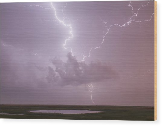 Lightning Over Cheyenne Bottoms Wood Print