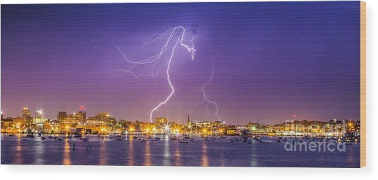Lightning Over Downtown Portland Maine Wood Print
