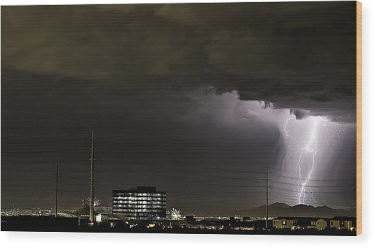 Wood Print featuring the photograph Lightning Over Las Vegas 2 by James Sage