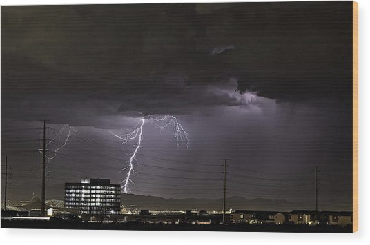 Wood Print featuring the photograph Lightning Over Las Vegas by James Sage