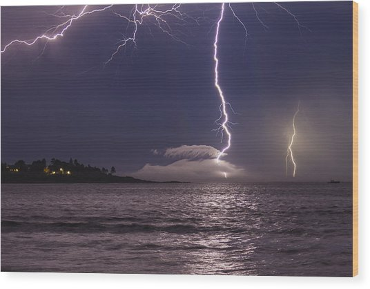 Lightning Over Prout's Neck Wood Print