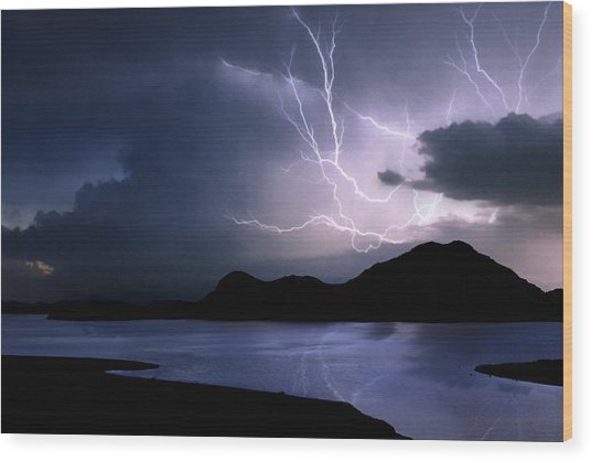 Lightning Over Quartz Mountains - Oklahoma Wood Print