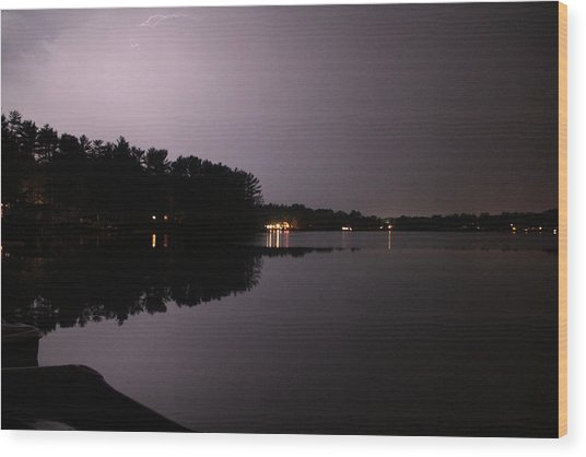 Lightning Over Water Wood Print by Sarah Klessig