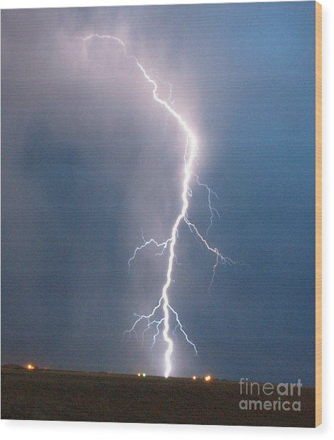 Lightning Roots Wood Print by Christian Jansen
