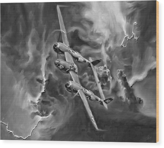 Lightning Strike-bw Wood Print by Peter Chilelli
