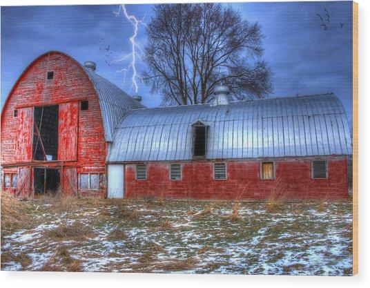 Lightning Strikes Wood Print by David Simons