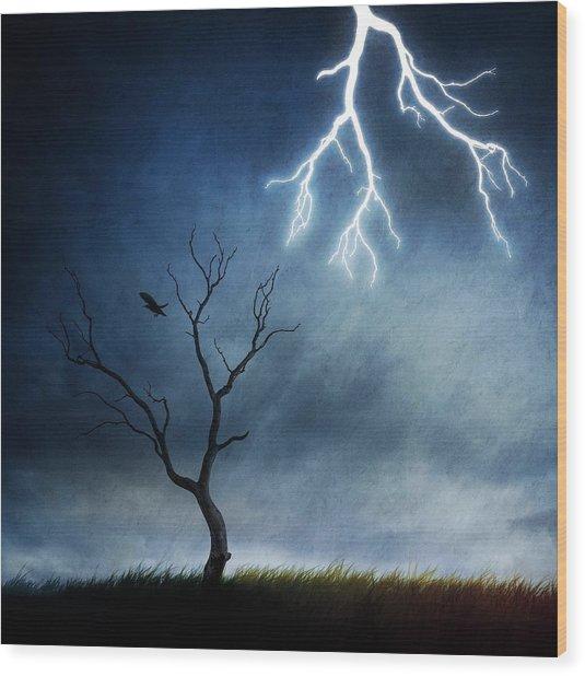 Lightning Tree Wood Print by Sebastien Del Grosso