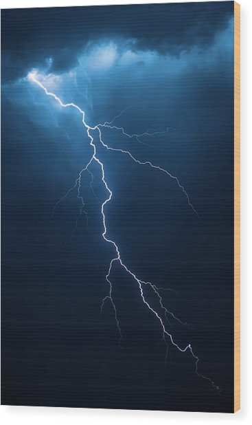 Lightning With Cloudscape Wood Print