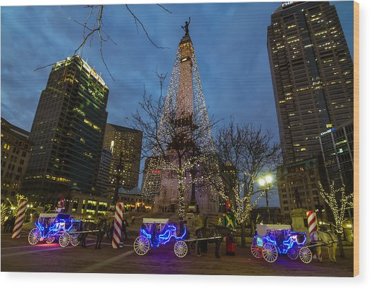 Lights And Carriage Rides Wood Print