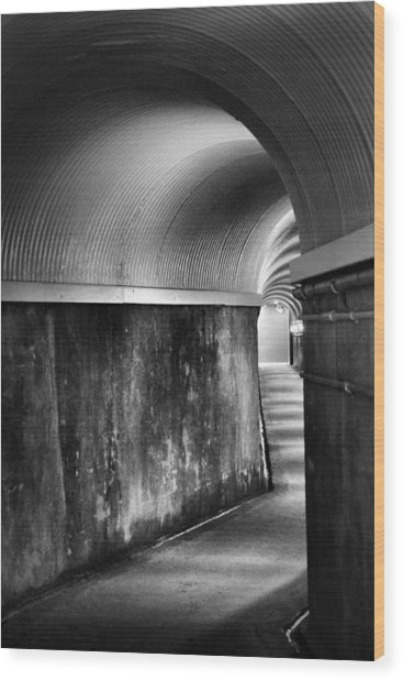 Lights At The End Of The Tunnel In Black And White Wood Print