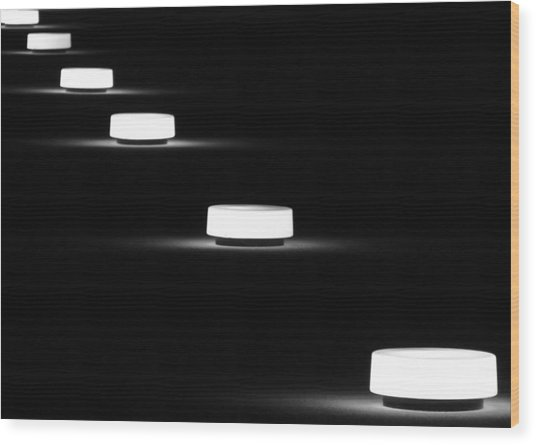 Lights In A Row Wood Print