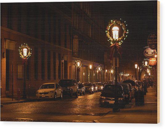 Lights Lowell Ma At Christmas II Wood Print
