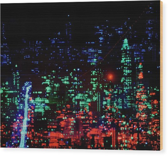 Lights Of New York City Wood Print