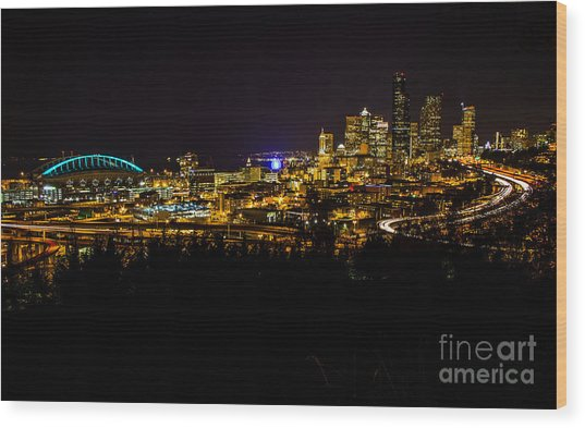 Lights Of Seattle Wood Print